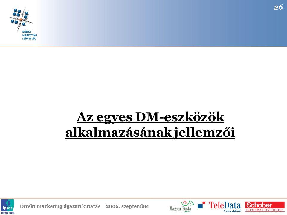 Direkt marketing ágazati kutatás2006. szeptember Az egyes DM-eszközök alkalmazásának jellemzői 26