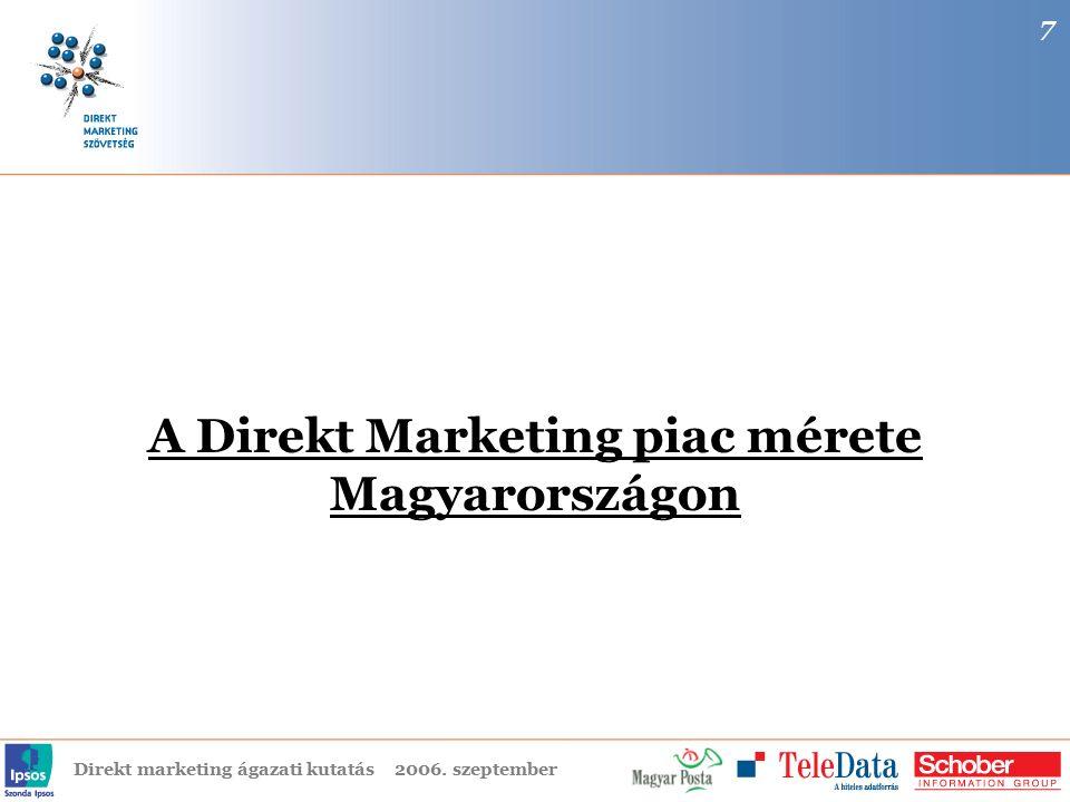 Direkt marketing ágazati kutatás2006. szeptember A Direkt Marketing piac mérete Magyarországon 7