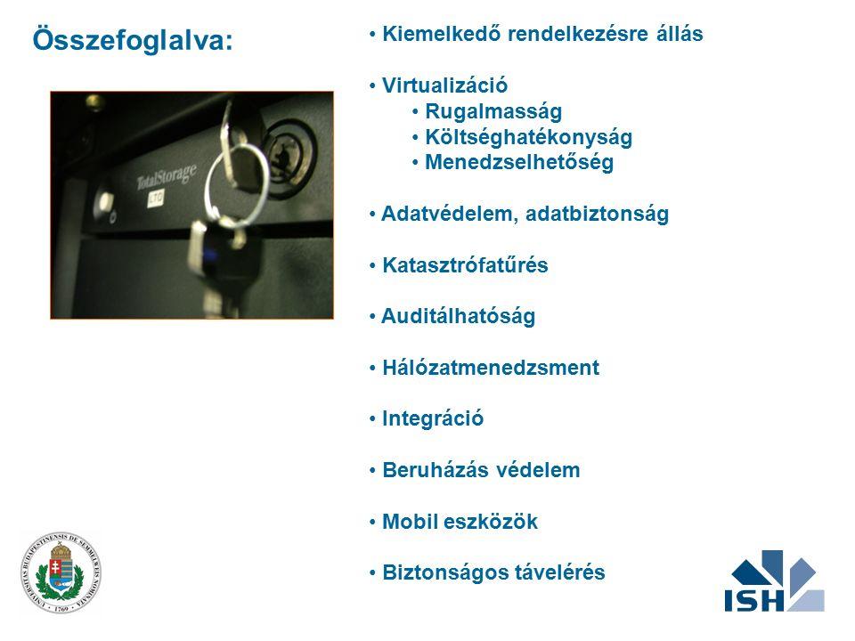 Összefoglalva: Kiemelkedő rendelkezésre állás Virtualizáció Rugalmasság Költséghatékonyság Menedzselhetőség Adatvédelem, adatbiztonság Katasztrófatűré