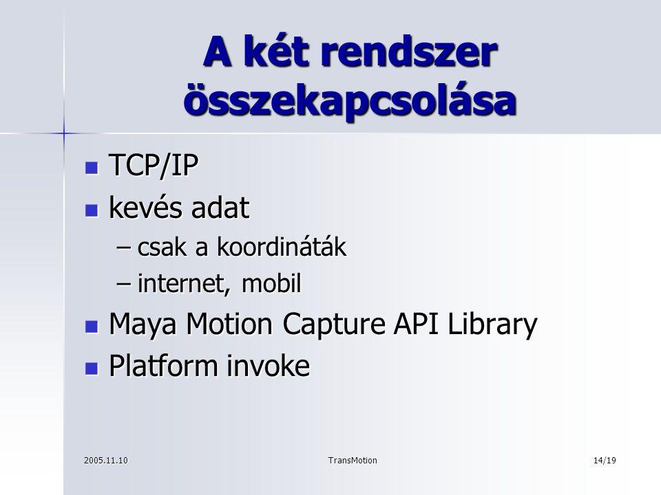 2005.11.10TransMotion15/19 A Performance Animation környezet konfigurálása Maya Maya Maya Application Maya Application MEL (Maya Ebedded Language) MEL (Maya Ebedded Language)