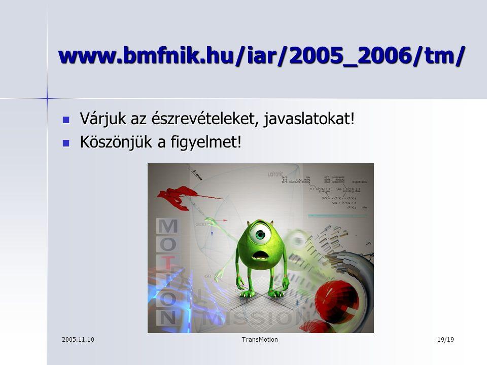 2005.11.10TransMotion19/19 www.bmfnik.hu/iar/2005_2006/tm/ Várjuk az észrevételeket, javaslatokat.