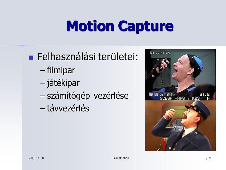 2005.11.10TransMotion6/19 Performance Animation Karakter-animáció Karakter-animáció Maya Maya –karaktermodell –csontvázmodell –kiegészítő elemek