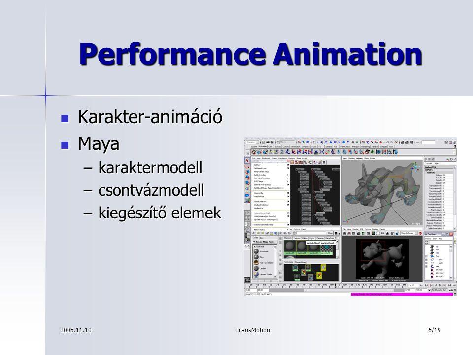 2005.11.10TransMotion7/19 TransMotion A rendszer fő részei A rendszer fő részei –Kalibráció –Kamerakezelés –Főprogram, felhasználói felület –Képfeldolgozás –A 3D-s koordináták kiszámítása –A két rendszer összekapcsolása –A Performance Animation környezet konfigurálása –A 3D-s környezet kialakítása