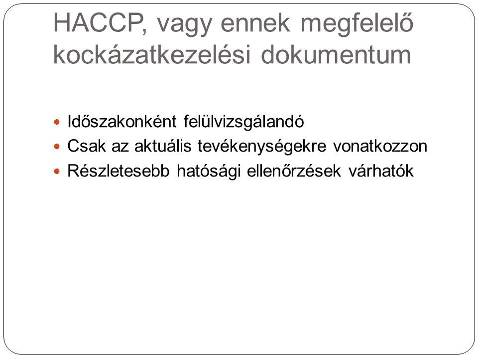 HACCP, vagy ennek megfelelő kockázatkezelési dokumentum Időszakonként felülvizsgálandó Csak az aktuális tevékenységekre vonatkozzon Részletesebb hatós