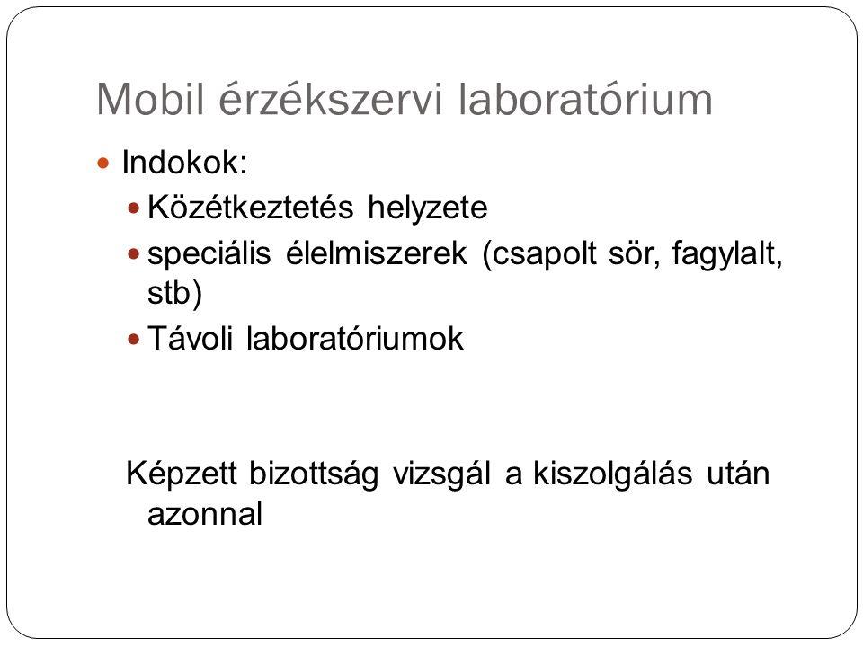 Mobil érzékszervi laboratórium Indokok: Közétkeztetés helyzete speciális élelmiszerek (csapolt sör, fagylalt, stb) Távoli laboratóriumok Képzett bizottság vizsgál a kiszolgálás után azonnal