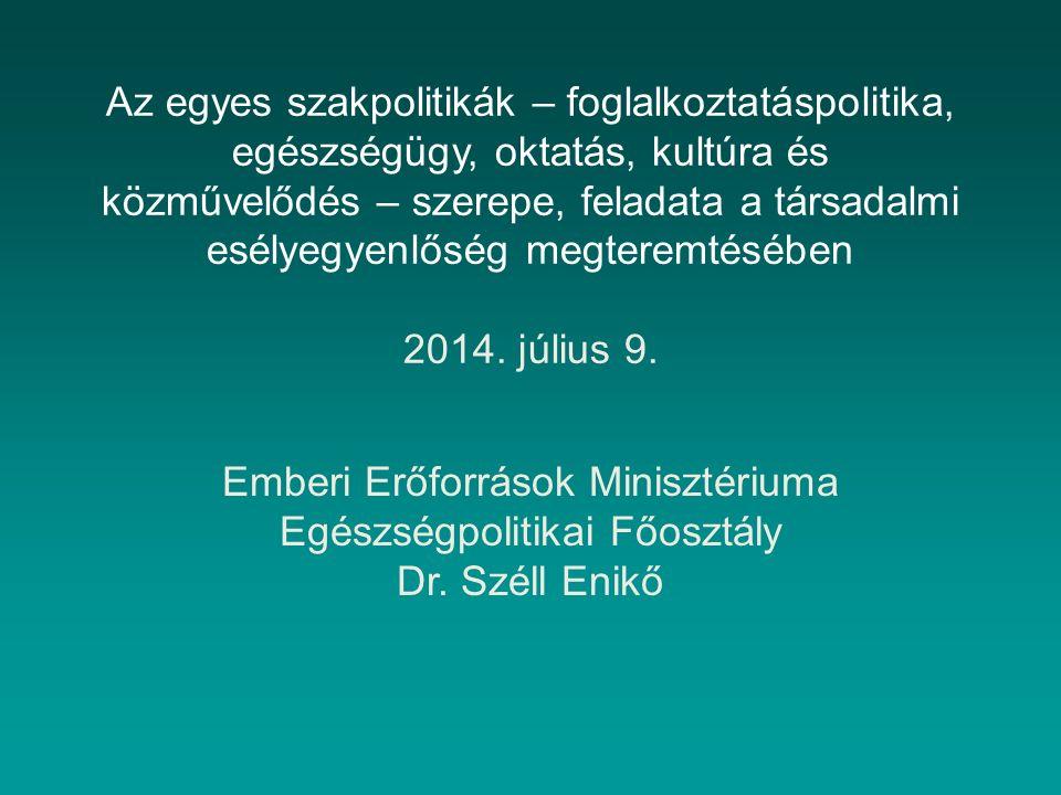 Az egyes szakpolitikák – foglalkoztatáspolitika, egészségügy, oktatás, kultúra és közművelődés – szerepe, feladata a társadalmi esélyegyenlőség megteremtésében 2014.
