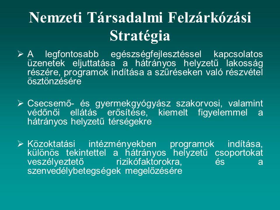Nemzeti Társadalmi Felzárkózási Stratégia  A legfontosabb egészségfejlesztéssel kapcsolatos üzenetek eljuttatása a hátrányos helyzetű lakosság részér