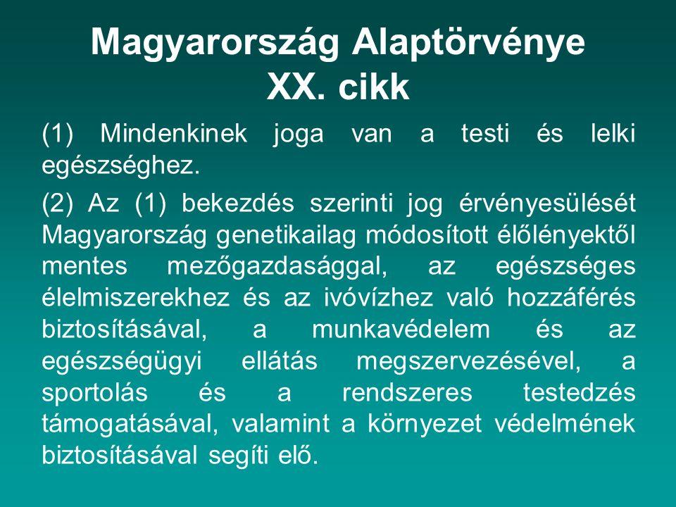 Magyarország Alaptörvénye XX. cikk (1) Mindenkinek joga van a testi és lelki egészséghez. (2) Az (1) bekezdés szerinti jog érvényesülését Magyarország