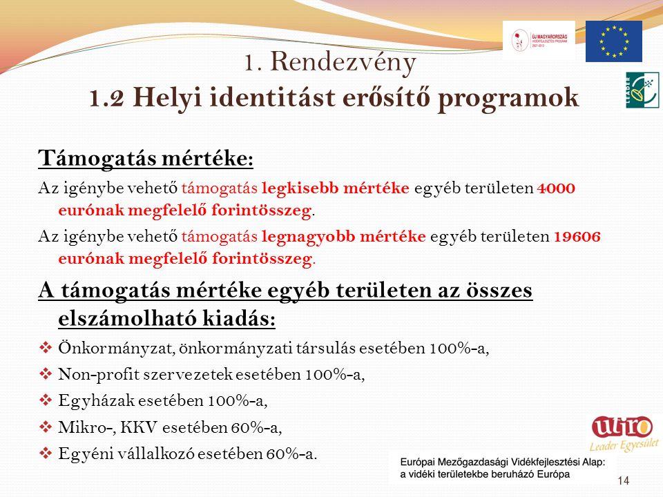 1. Rendezvény 1.2 Helyi identitást er ő sít ő programok Támogatás mértéke: Az igénybe vehet ő támogatás legkisebb mértéke egyéb területen 4000 eurónak