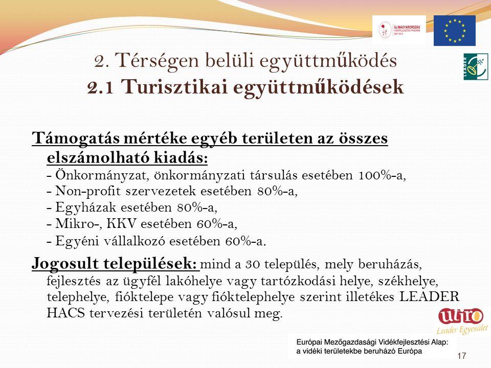 2. Térségen belüli együttm ű ködés 2.1 Turisztikai együttm ű ködések Támogatás mértéke egyéb területen az összes elszámolható kiadás: - Önkormányzat,