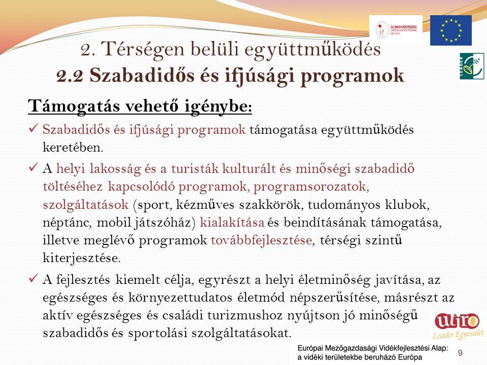 2. Térségen belüli együttm ű ködés 2.2 Szabadid ő s és ifjúsági programok Támogatás vehet ő igénybe : Szabadid ő s és ifjúsági programok támogatása eg