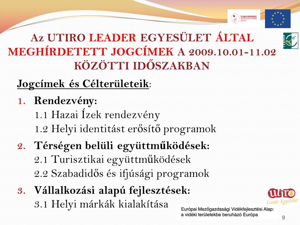 Az UTIRO LEADER EGYESÜLET ÁLTAL MEGHÍRDETETT JOGCÍMEK A 2009.10.01-11.02 KÖZÖTTI ID Ő SZAKBAN Jogcímek és Célterületeik : 1.