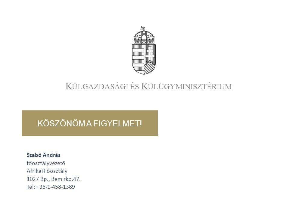 K ÜLGAZDASÁGI ÉS K ÜLÜGYMINISZTÉRIUM Szabó András főosztályvezető Afrikai Főosztály 1027 Bp., Bem rkp.47.