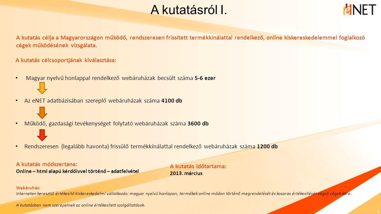 3 A kutatás célcsoportjának kiválasztása: Magyar nyelvű honlappal rendelkező webáruházak becsült száma 5-6 ezer Az eNET adatbázisában szereplő webáruh