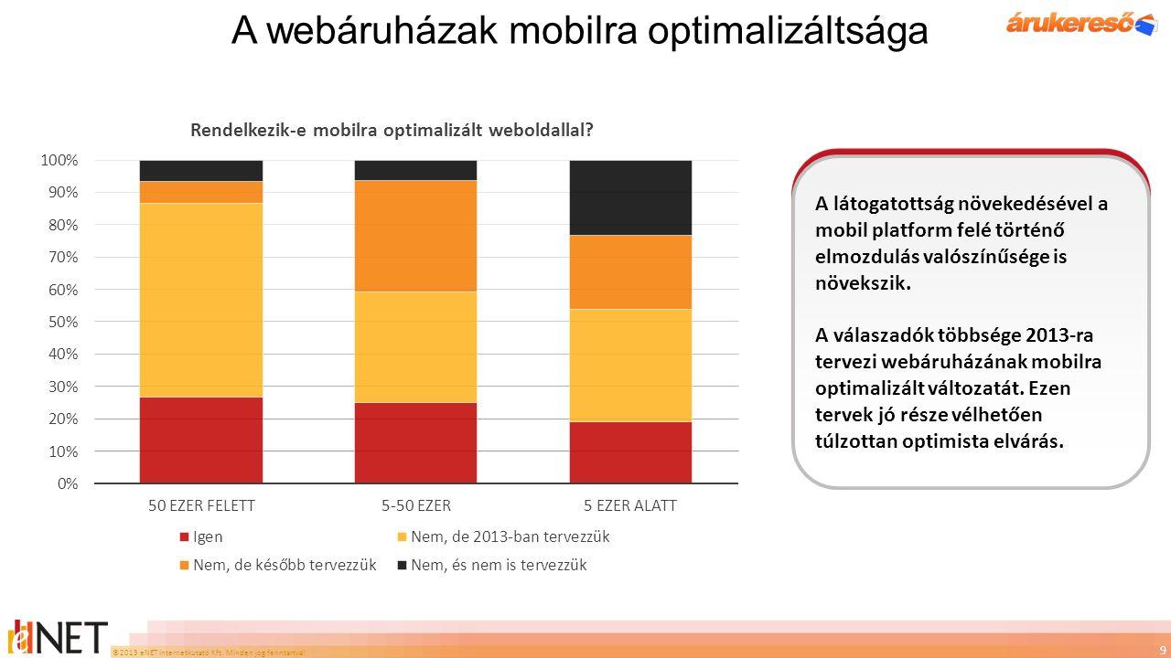 ©2013 eNET Internetkutató Kft. Minden jog fenntartva! A webáruházak mobilra optimalizáltsága 9 A látogatottság növekedésével a mobil platform felé tör