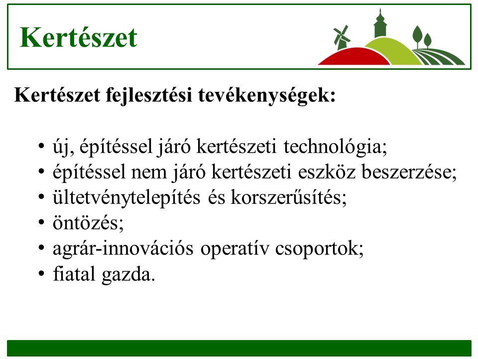 Kertészet Kertészet fejlesztési tevékenységek: új, építéssel járó kertészeti technológia; építéssel nem járó kertészeti eszköz beszerzése; ültetvénytelepítés és korszerűsítés; öntözés; agrár-innovációs operatív csoportok; fiatal gazda.