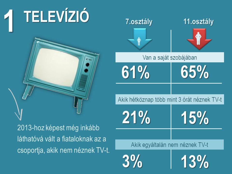 TELEVÍZIÓ 1 Van a saját szobájában 61% 65% 7.osztály 7.osztály  11.osztály 11.osztály  2013-hoz képest még inkább láthatóvá vált a fiataloknak az a csoportja, akik nem néznek TV-t.