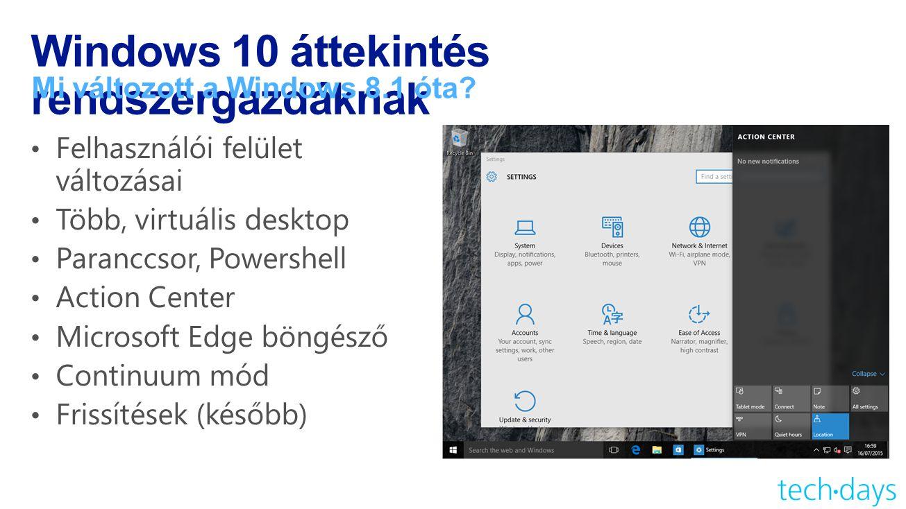 Windows 10 áttekintés rendszergazdáknak Mi változott a Windows 8.1 óta