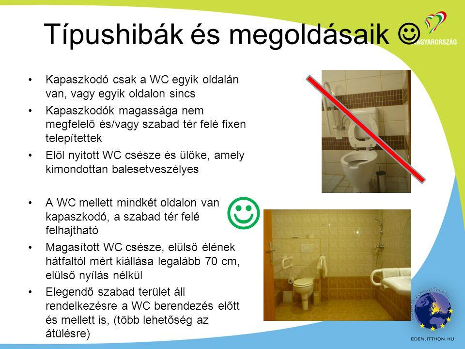 Kapaszkodó csak a WC egyik oldalán van, vagy egyik oldalon sincs Kapaszkodók magassága nem megfelelő és/vagy szabad tér felé fixen telepítettek Elöl nyitott WC csésze és ülőke, amely kimondottan balesetveszélyes A WC mellett mindkét oldalon van kapaszkodó, a szabad tér felé felhajtható Magasított WC csésze, elülső élének hátfaltól mért kiállása legalább 70 cm, elülső nyílás nélkül Elegendő szabad terület áll rendelkezésre a WC berendezés előtt és mellett is, (több lehetőség az átülésre) Típushibák és megoldásaik