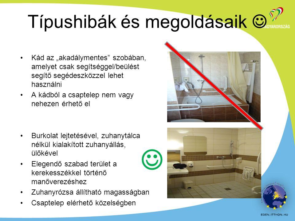 """Kád az """"akadálymentes szobában, amelyet csak segítséggel/beülést segítő segédeszközzel lehet használni A kádból a csaptelep nem vagy nehezen érhető el Burkolat lejtetésével, zuhanytálca nélkül kialakított zuhanyállás, ülőkével Elegendő szabad terület a kerekesszékkel történő manőverezéshez Zuhanyrózsa állítható magasságban Csaptelep elérhető közelségben Típushibák és megoldásaik"""