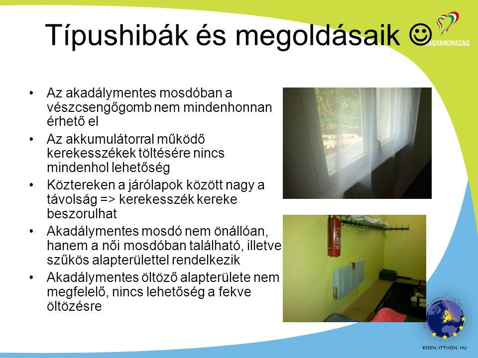 Az akadálymentes mosdóban a vészcsengőgomb nem mindenhonnan érhető el Az akkumulátorral működő kerekesszékek töltésére nincs mindenhol lehetőség Köztereken a járólapok között nagy a távolság => kerekesszék kereke beszorulhat Akadálymentes mosdó nem önállóan, hanem a női mosdóban található, illetve szűkös alapterülettel rendelkezik Akadálymentes öltöző alapterülete nem megfelelő, nincs lehetőség a fekve öltözésre Típushibák és megoldásaik