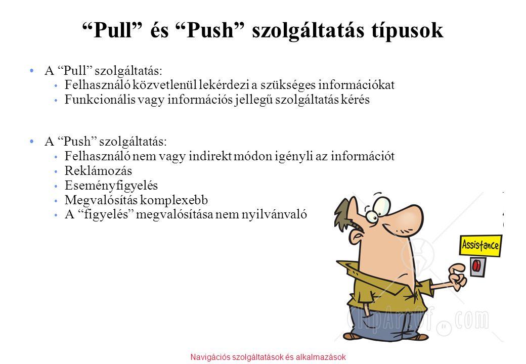 """Navigációs szolgáltatások és alkalmazások """"Pull"""" és """"Push"""" szolgáltatás típusok A """"Pull"""" szolgáltatás: Felhasználó közvetlenül lekérdezi a szükséges i"""