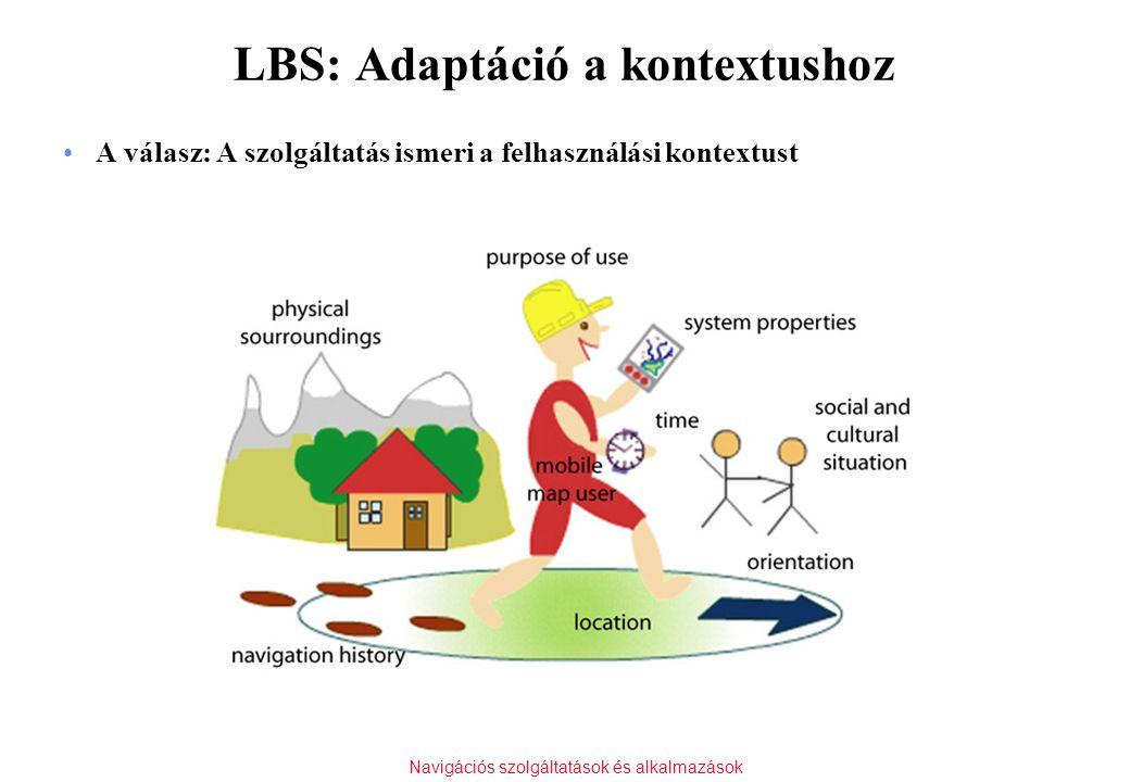 Navigációs szolgáltatások és alkalmazások LBS: Adaptáció a kontextushoz A válasz: A szolgáltatás ismeri a felhasználási kontextust