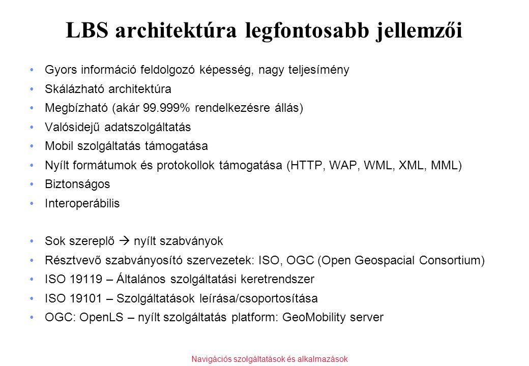 Navigációs szolgáltatások és alkalmazások LBS architektúra legfontosabb jellemzői Gyors információ feldolgozó képesség, nagy teljesímény Skálázható ar