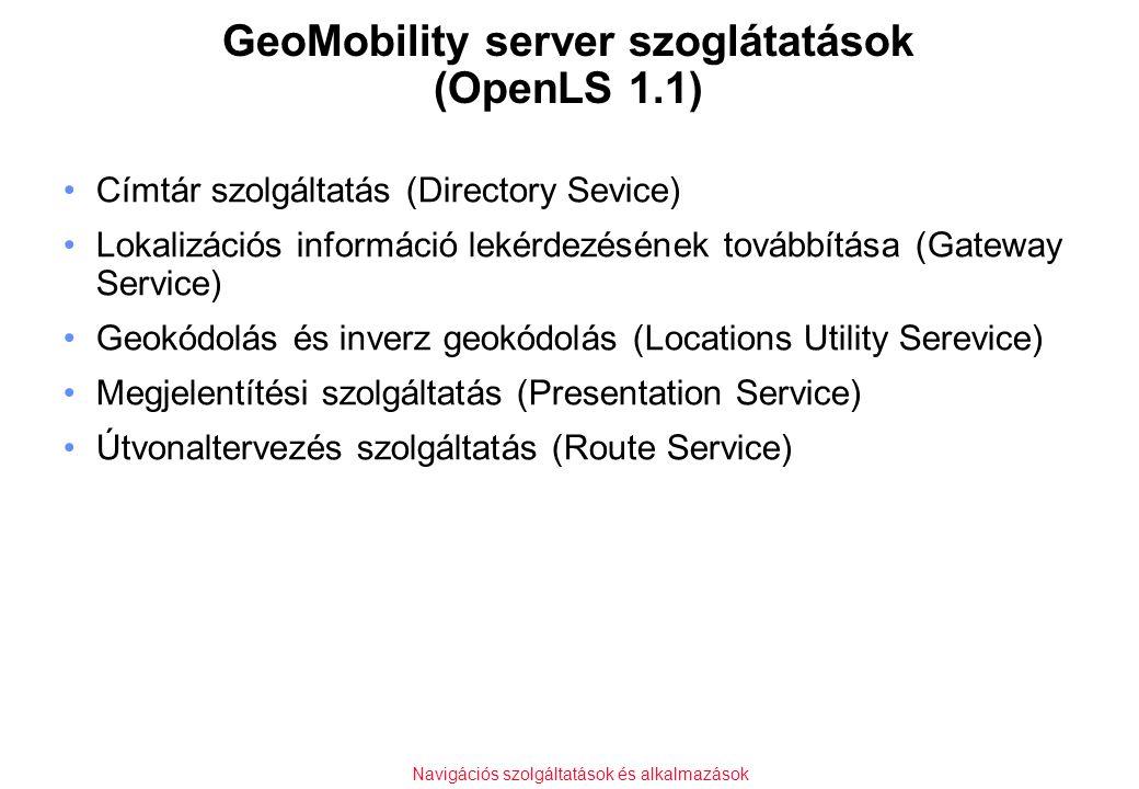 Navigációs szolgáltatások és alkalmazások GeoMobility server szoglátatások (OpenLS 1.1) Címtár szolgáltatás (Directory Sevice) Lokalizációs információ