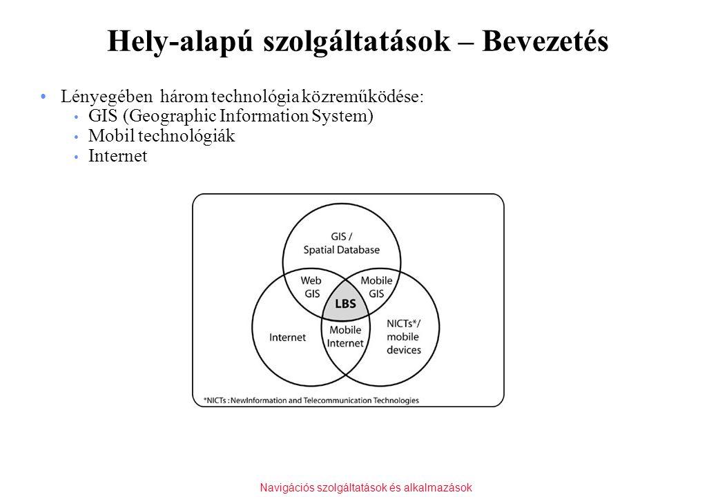 Navigációs szolgáltatások és alkalmazások Hely-alapú szolgáltatások – Bevezetés Lényegében három technológia közreműködése: GIS (Geographic Informatio