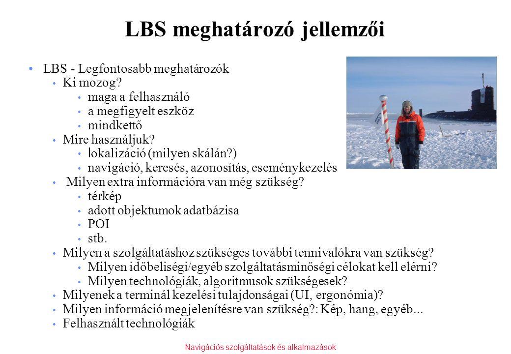 Navigációs szolgáltatások és alkalmazások LBS meghatározó jellemzői LBS - Legfontosabb meghatározók Ki mozog? maga a felhasználó a megfigyelt eszköz m