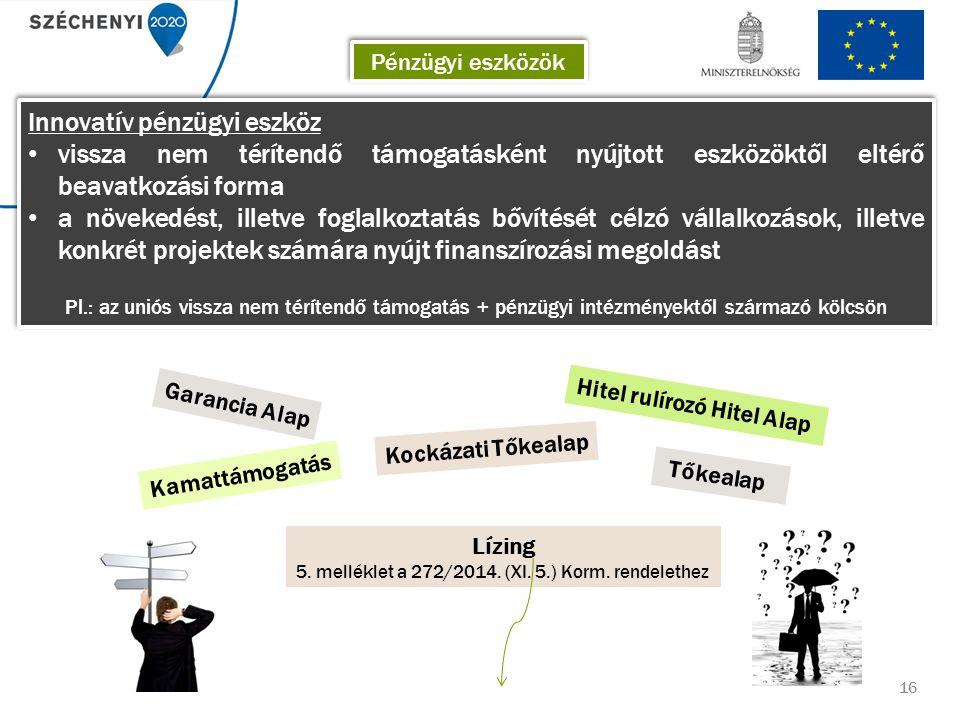 16 Innovatív pénzügyi eszköz vissza nem térítendő támogatásként nyújtott eszközöktől eltérő beavatkozási forma a növekedést, illetve foglalkoztatás bővítését célzó vállalkozások, illetve konkrét projektek számára nyújt finanszírozási megoldást Pl.: az uniós vissza nem térítendő támogatás + pénzügyi intézményektől származó kölcsön Innovatív pénzügyi eszköz vissza nem térítendő támogatásként nyújtott eszközöktől eltérő beavatkozási forma a növekedést, illetve foglalkoztatás bővítését célzó vállalkozások, illetve konkrét projektek számára nyújt finanszírozási megoldást Pl.: az uniós vissza nem térítendő támogatás + pénzügyi intézményektől származó kölcsön Hitel rulírozó Hitel Alap Kockázati Tőkealap Kamattámogatás Garancia Alap Tőkealap Lízing 5.
