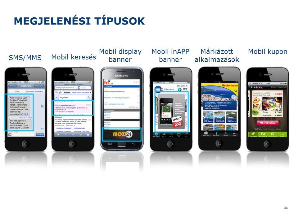 MEGJELENÉSI TÍPUSOK 44 Mobil display banner Mobil inAPP banner Márkázott alkalmazások SMS/MMS Mobil keresés Mobil kupon