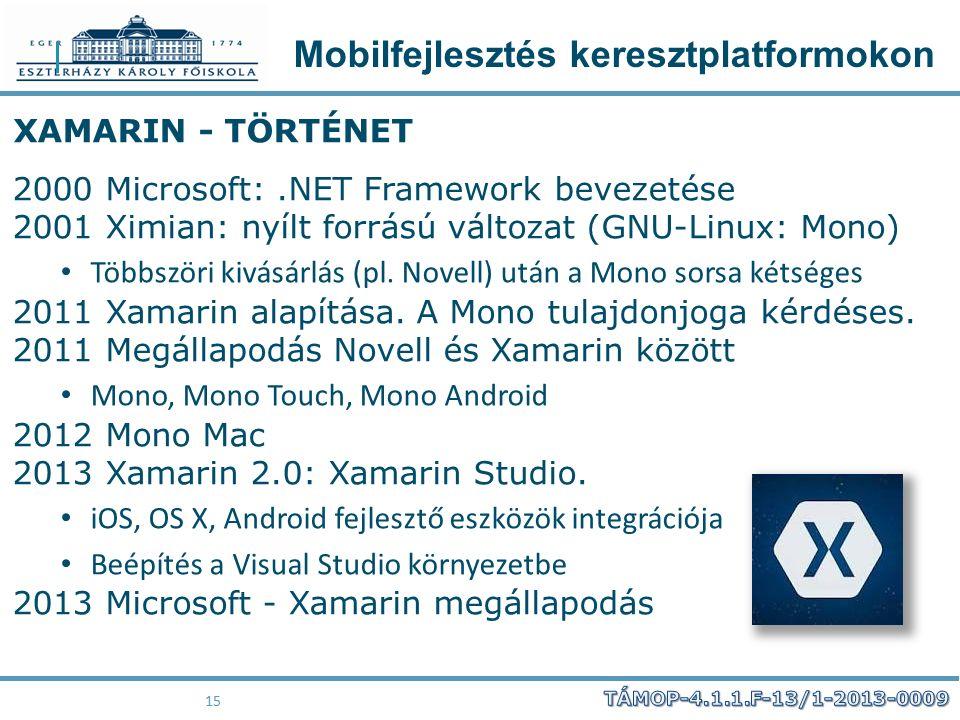 Mobilfejlesztés keresztplatformokon 15 XAMARIN - TÖRTÉNET 2000 Microsoft:.NET Framework bevezetése 2001 Ximian: nyílt forrású változat (GNU-Linux: Mon