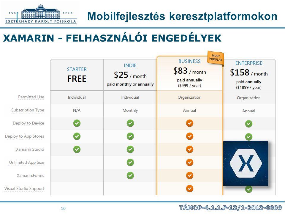 Mobilfejlesztés keresztplatformokon 16 XAMARIN - FELHASZNÁLÓI ENGEDÉLYEK