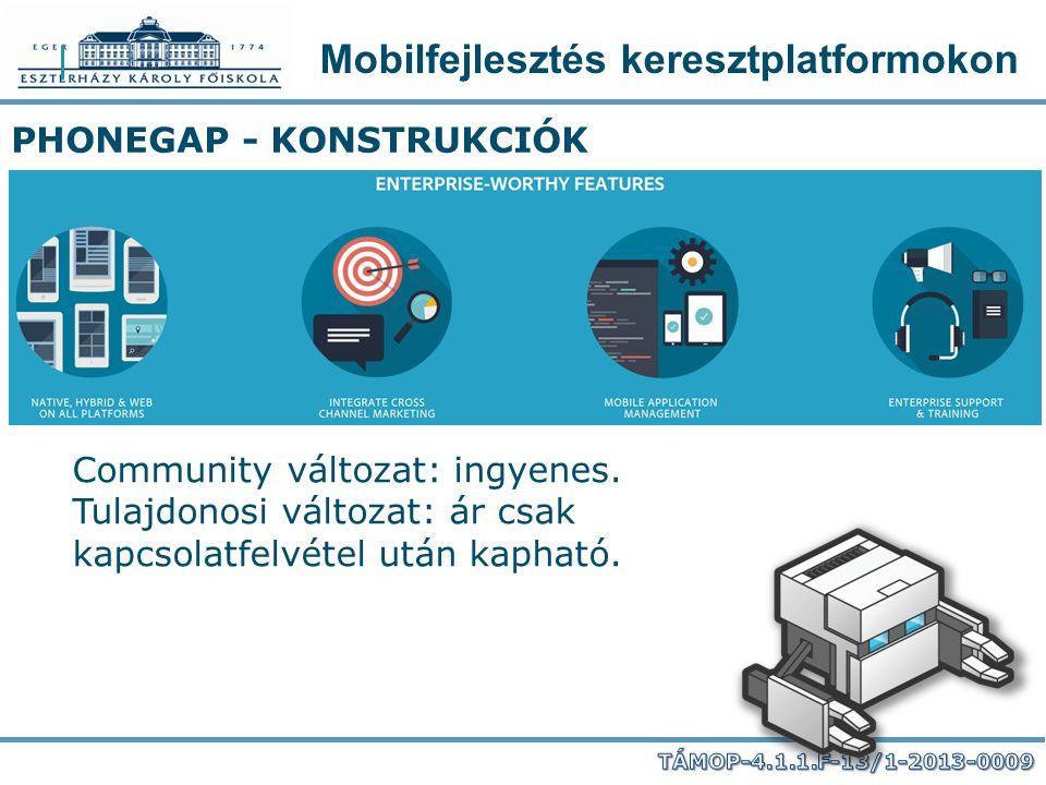Mobilfejlesztés keresztplatformokon PHONEGAP - KONSTRUKCIÓK Community változat: ingyenes. Tulajdonosi változat: ár csak kapcsolatfelvétel után kapható