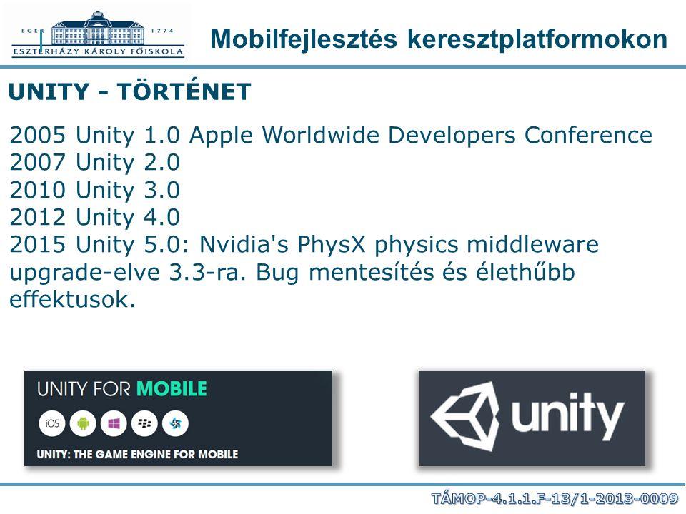 Mobilfejlesztés keresztplatformokon UNITY - TÖRTÉNET 2005 Unity 1.0 Apple Worldwide Developers Conference 2007 Unity 2.0 2010 Unity 3.0 2012 Unity 4.0