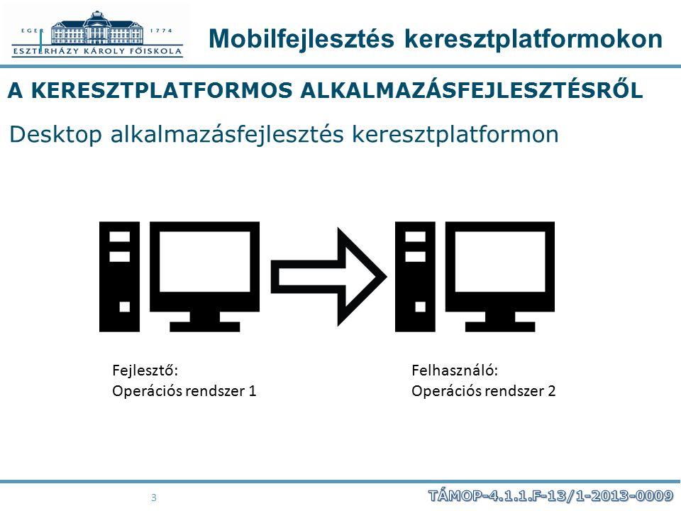 Mobilfejlesztés keresztplatformokon 44 Qt TELEPÍTÉS Windows host, Windows Desktop és Android platformok:  Qt 5.4.2 for Android (Windows 32-bit, 924 MB) jdk, Android SDK, Android NDK, ant