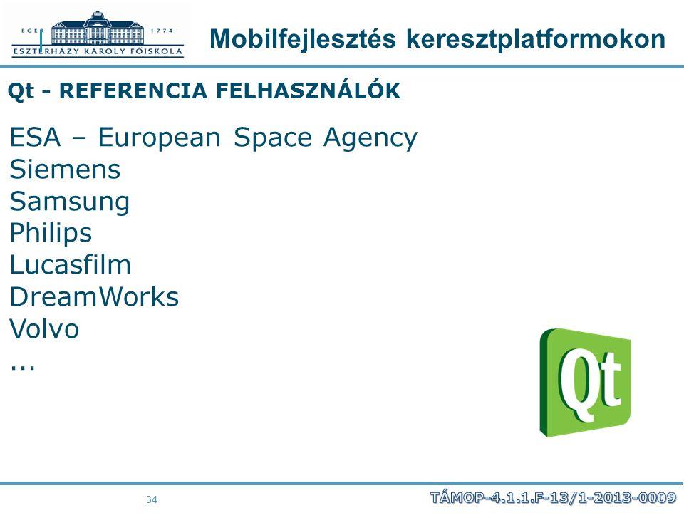 Mobilfejlesztés keresztplatformokon 34 Qt - REFERENCIA FELHASZNÁLÓK ESA – European Space Agency Siemens Samsung Philips Lucasfilm DreamWorks Volvo...