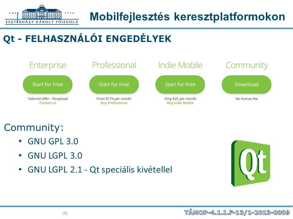 Mobilfejlesztés keresztplatformokon 35 Qt - FELHASZNÁLÓI ENGEDÉLYEK Community: GNU GPL 3.0 GNU LGPL 3.0 GNU LGPL 2.1 - Qt speciális kivétellel