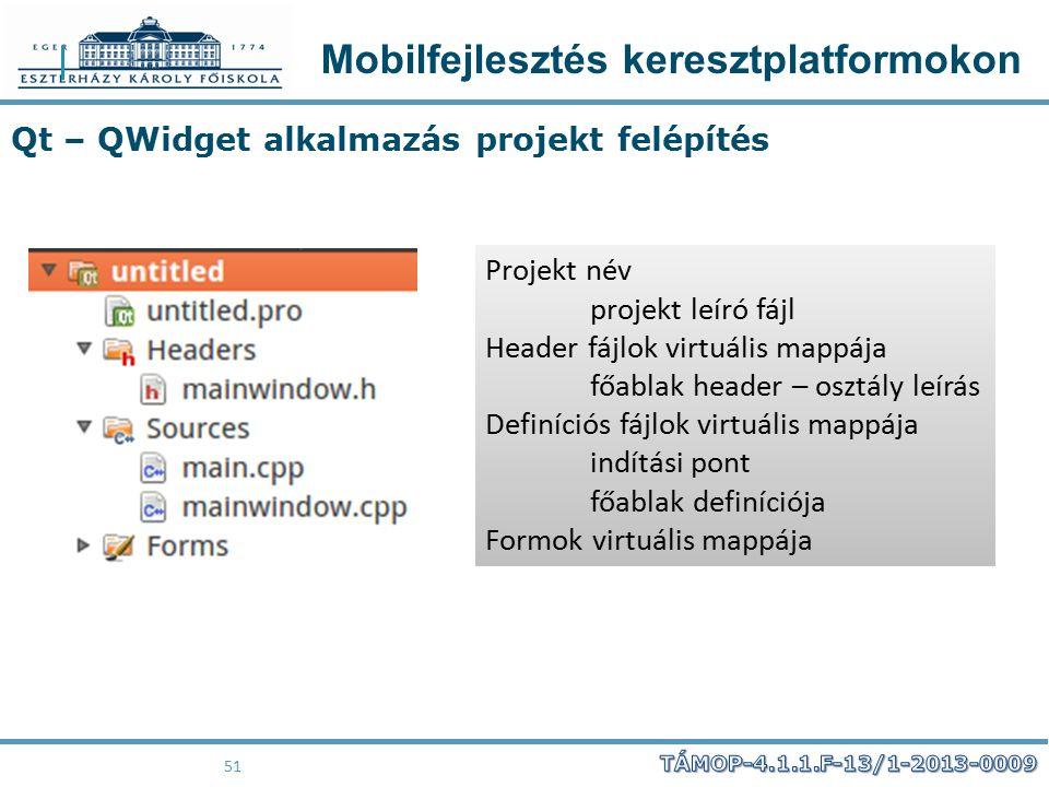 Mobilfejlesztés keresztplatformokon 51 Qt – QWidget alkalmazás projekt felépítés Projekt név projekt leíró fájl Header fájlok virtuális mappája főabla