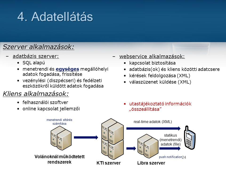 Szerver alkalmazások: –adatbázis szerver: SQL alapú menetrendi és egységes megállóhelyi adatok fogadása, frissítése vezénylési (diszpécseri) és fedélzeti eszközökről küldött adatok fogadása Kliens alkalmazások: felhasználói szoftver online kapcsolat jellemzői 24 4.