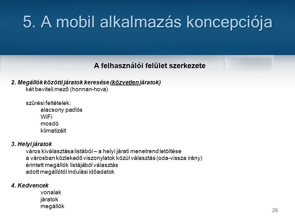 29 5. A mobil alkalmazás koncepciója A felhasználói felület szerkezete 2.