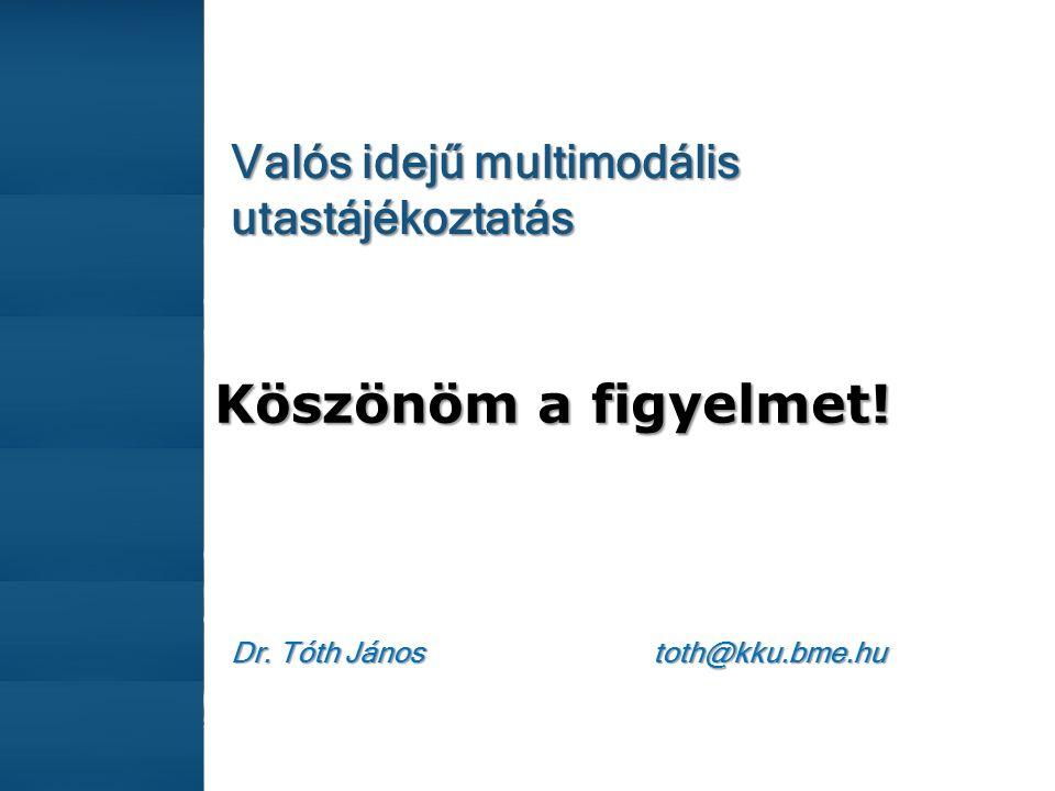 Valós idejű multimodális utastájékoztatás Köszönöm a figyelmet! Dr. Tóth János toth@kku.bme.hu
