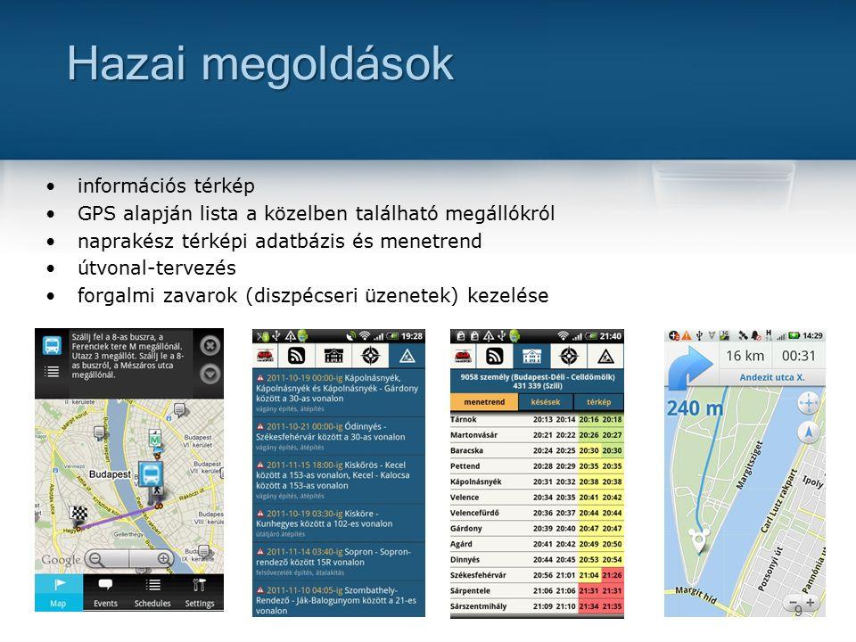9 információs térkép GPS alapján lista a közelben található megállókról naprakész térképi adatbázis és menetrend útvonal-tervezés forgalmi zavarok (diszpécseri üzenetek) kezelése Hazai megoldások