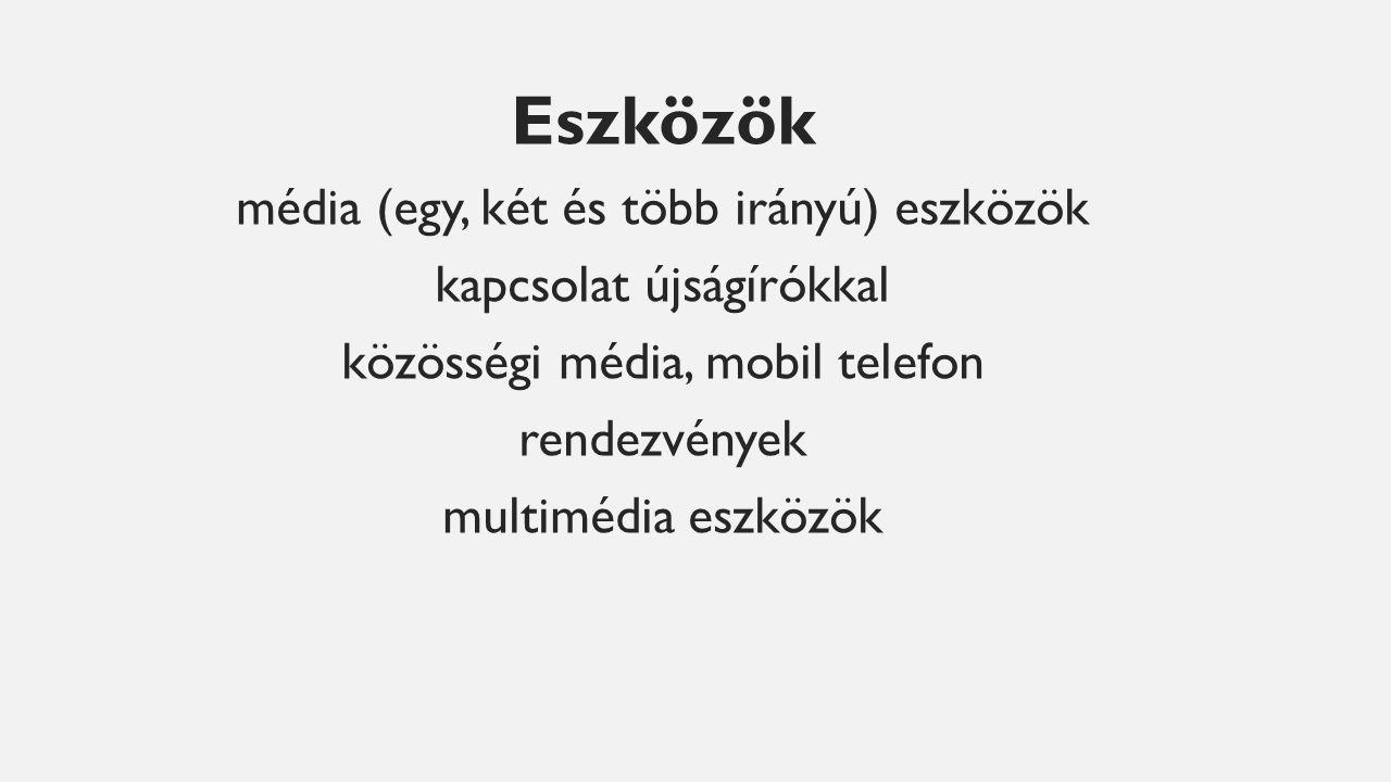 Eszközök média (egy, két és több irányú) eszközök kapcsolat újságírókkal közösségi média, mobil telefon rendezvények multimédia eszközök
