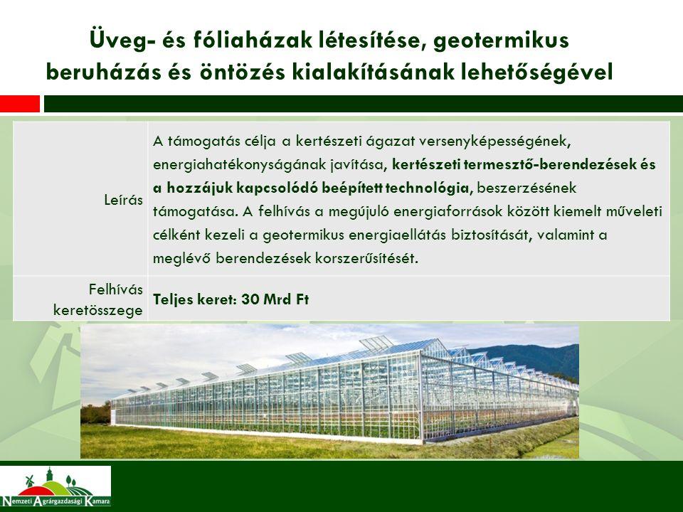 Üveg- és fóliaházak létesítése, geotermikus beruházás és öntözés kialakításának lehetőségével Leírás A támogatás célja a kertészeti ágazat versenyképességének, energiahatékonyságának javítása, kertészeti termesztő-berendezések és a hozzájuk kapcsolódó beépített technológia, beszerzésének támogatása.