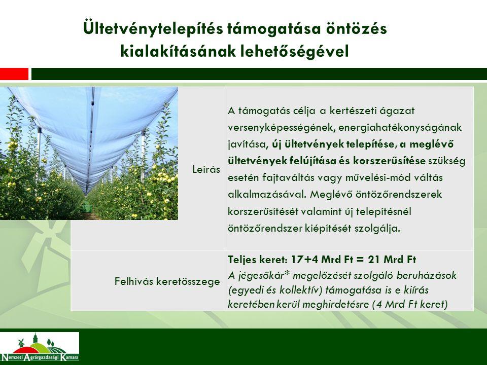 Ültetvénytelepítés támogatása öntözés kialakításának lehetőségével Leírás A támogatás célja a kertészeti ágazat versenyképességének, energiahatékonyságának javítása, új ültetvények telepítése, a meglévő ültetvények felújítása és korszerűsítése szükség esetén fajtaváltás vagy művelési-mód váltás alkalmazásával.
