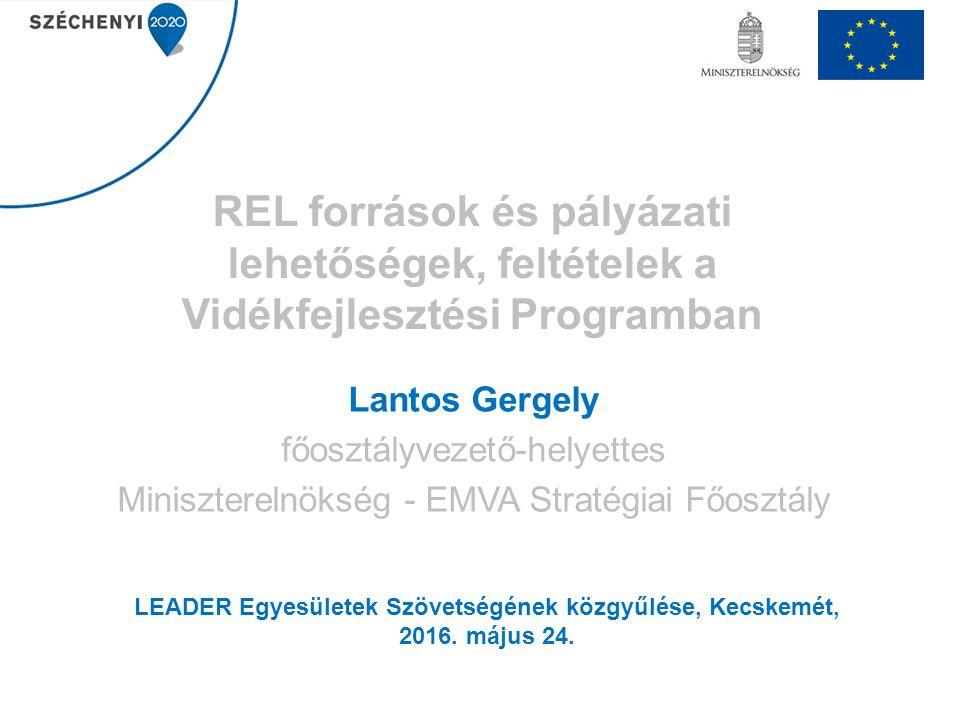 REL források és pályázati lehetőségek, feltételek a Vidékfejlesztési Programban Lantos Gergely főosztályvezető-helyettes Miniszterelnökség - EMVA Stratégiai Főosztály LEADER Egyesületek Szövetségének közgyűlése, Kecskemét, 2016.
