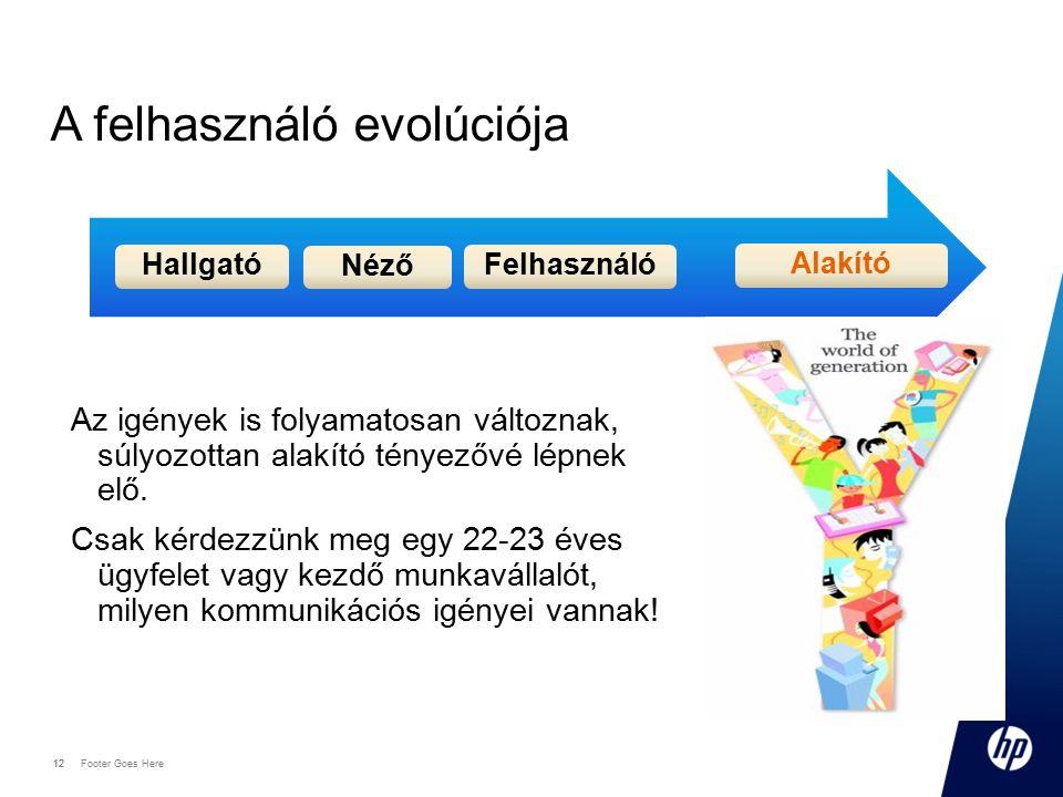 12 Footer Goes Here 12 A felhasználó evolúciója Az igények is folyamatosan változnak, súlyozottan alakító tényezővé lépnek elő. Csak kérdezzünk meg eg